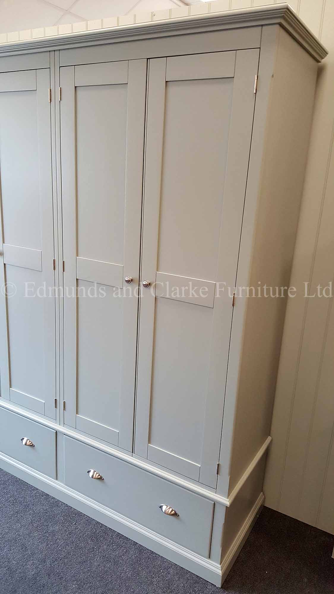 Large made to measure painted wardrobe 6 doors and 3 drawers