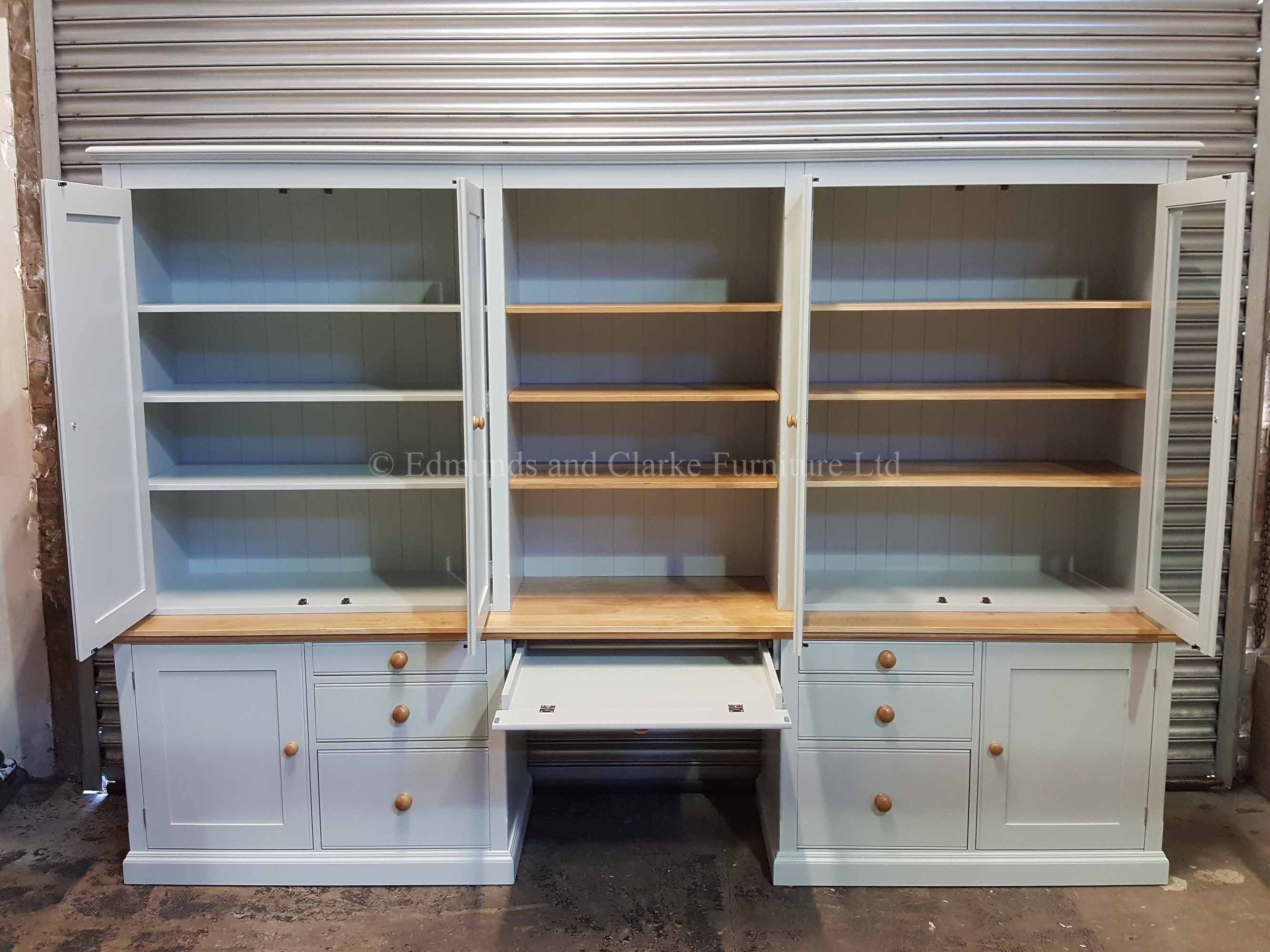 Large Edmunds office workstation made to measure desk with filing drawers