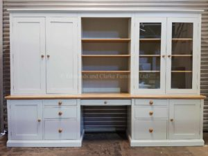 Bespoke Large Office Workstation Desk. glazed on one side and panelled doors on other and various sized drawers