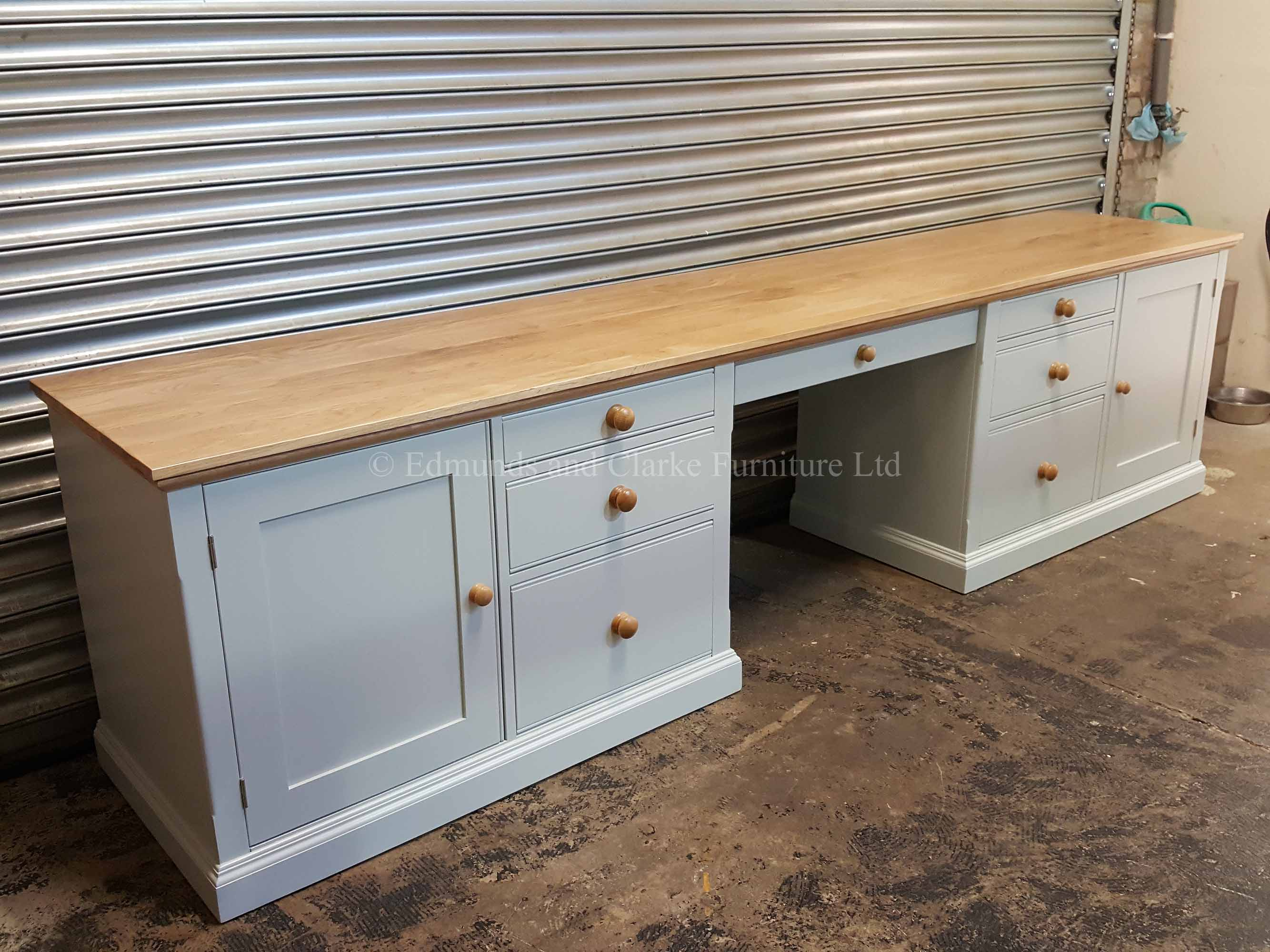 made to measure huge desk painted with oak top