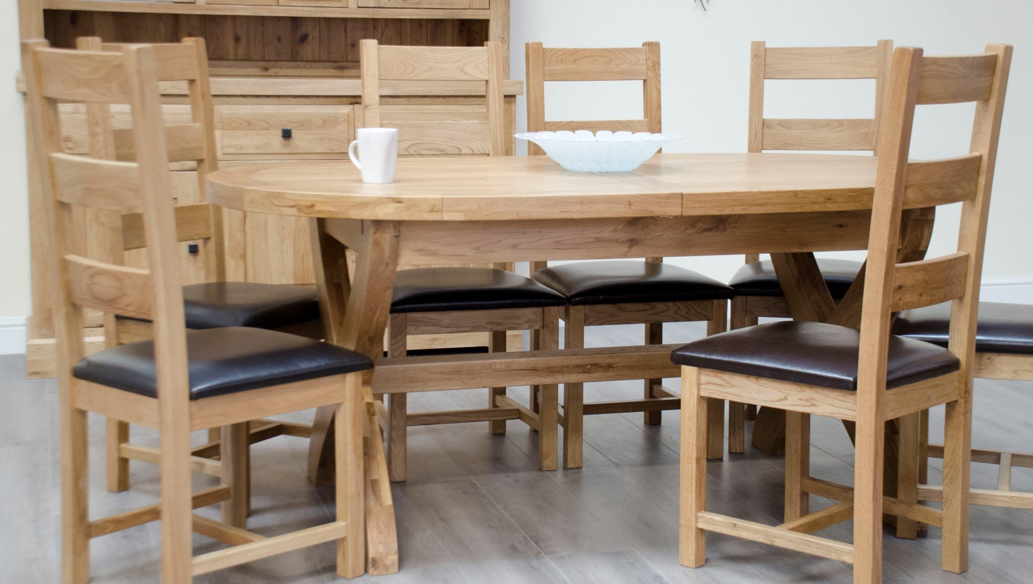 Melford solid oak oval cross leg table