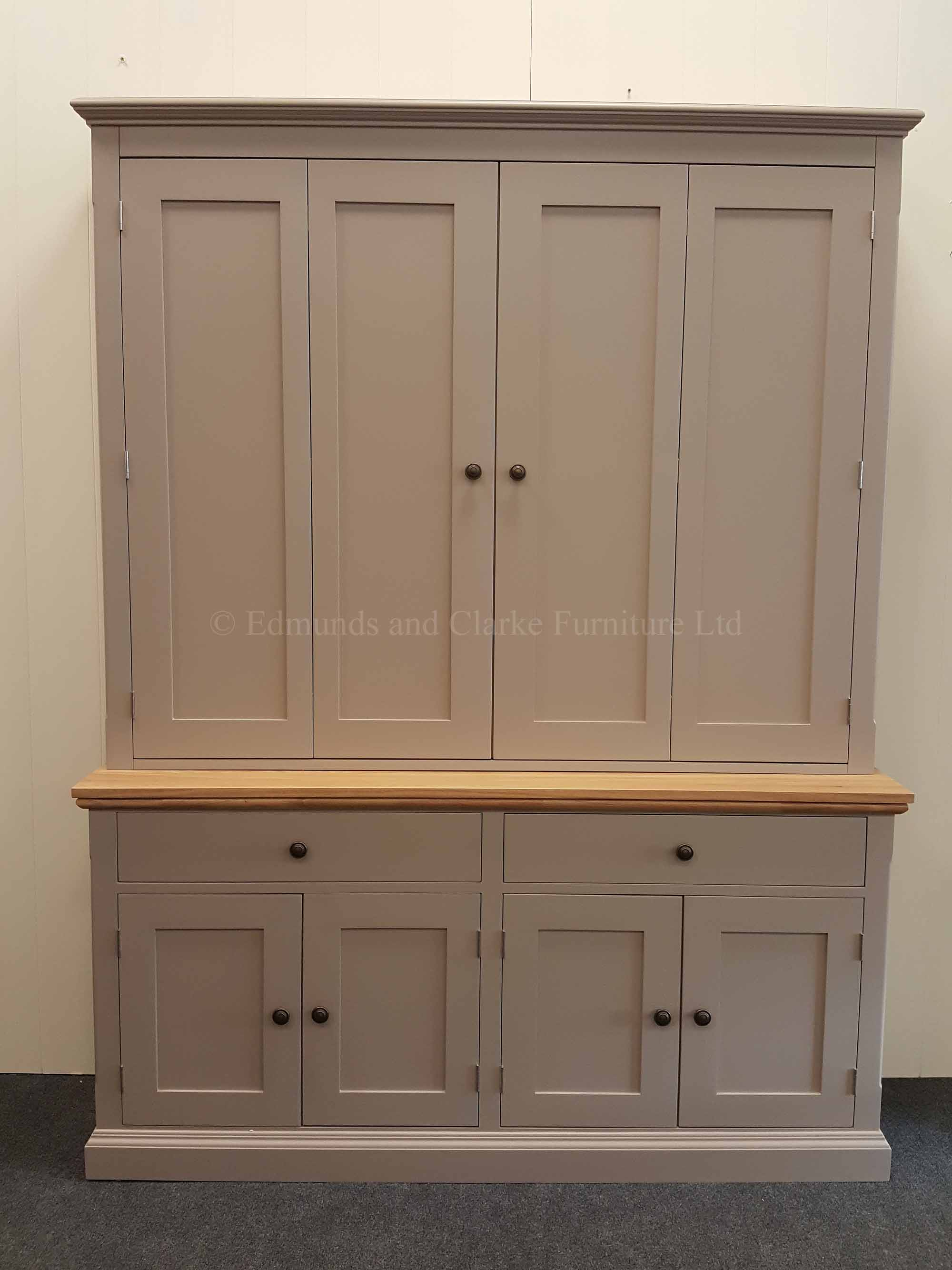 Edmunds large television cupboard, painted with oak top