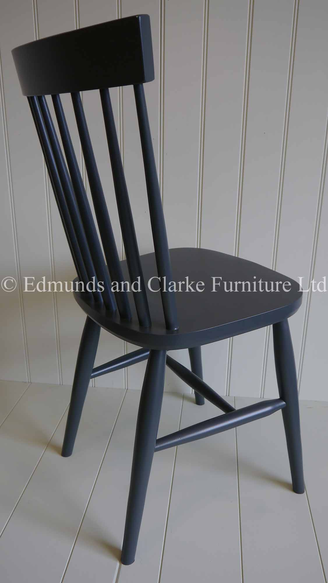 Nordic dining chair painted dark blue