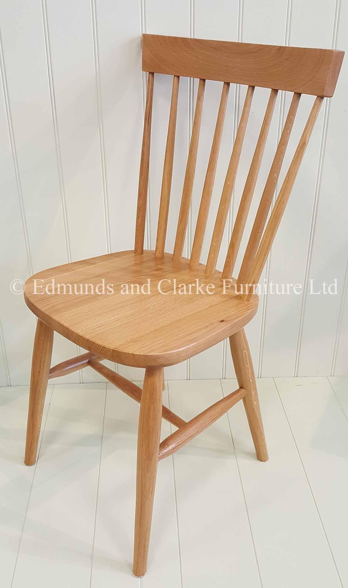 Edmunds Nordic Oak Dining Chair. thin slat back. Farmhouse style