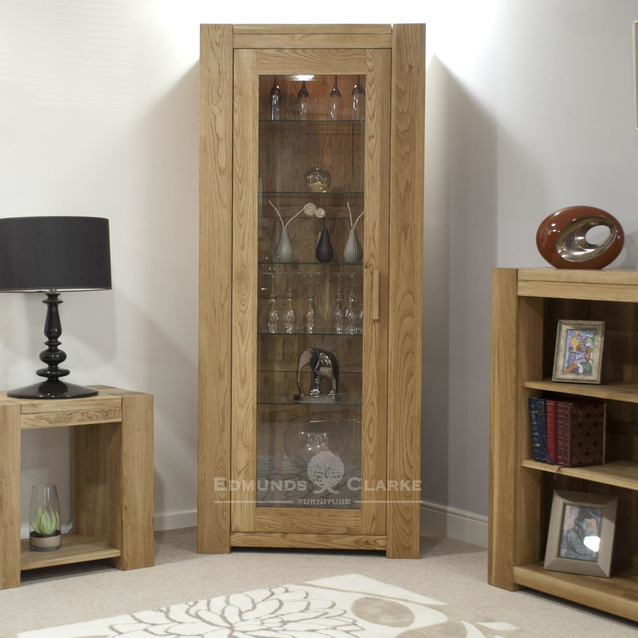 Newmarket solid oak chunky style glazed display cabinet with glass shelves and lights