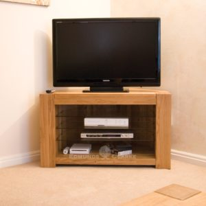 Newmarket solid oak corner tv unit with glass shelves