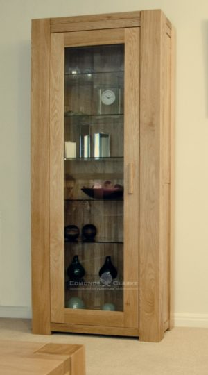 Chunky style solid oak glazed display cabinet newmarket