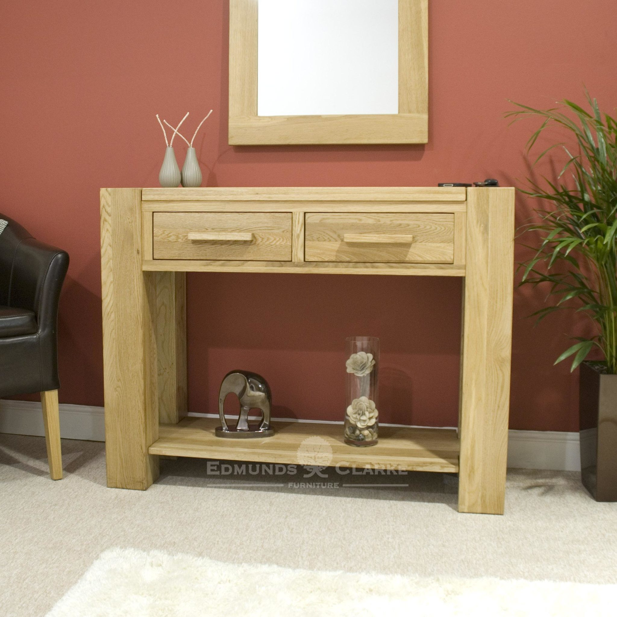 Newmarket hall table with shelf and two drawers chunky style