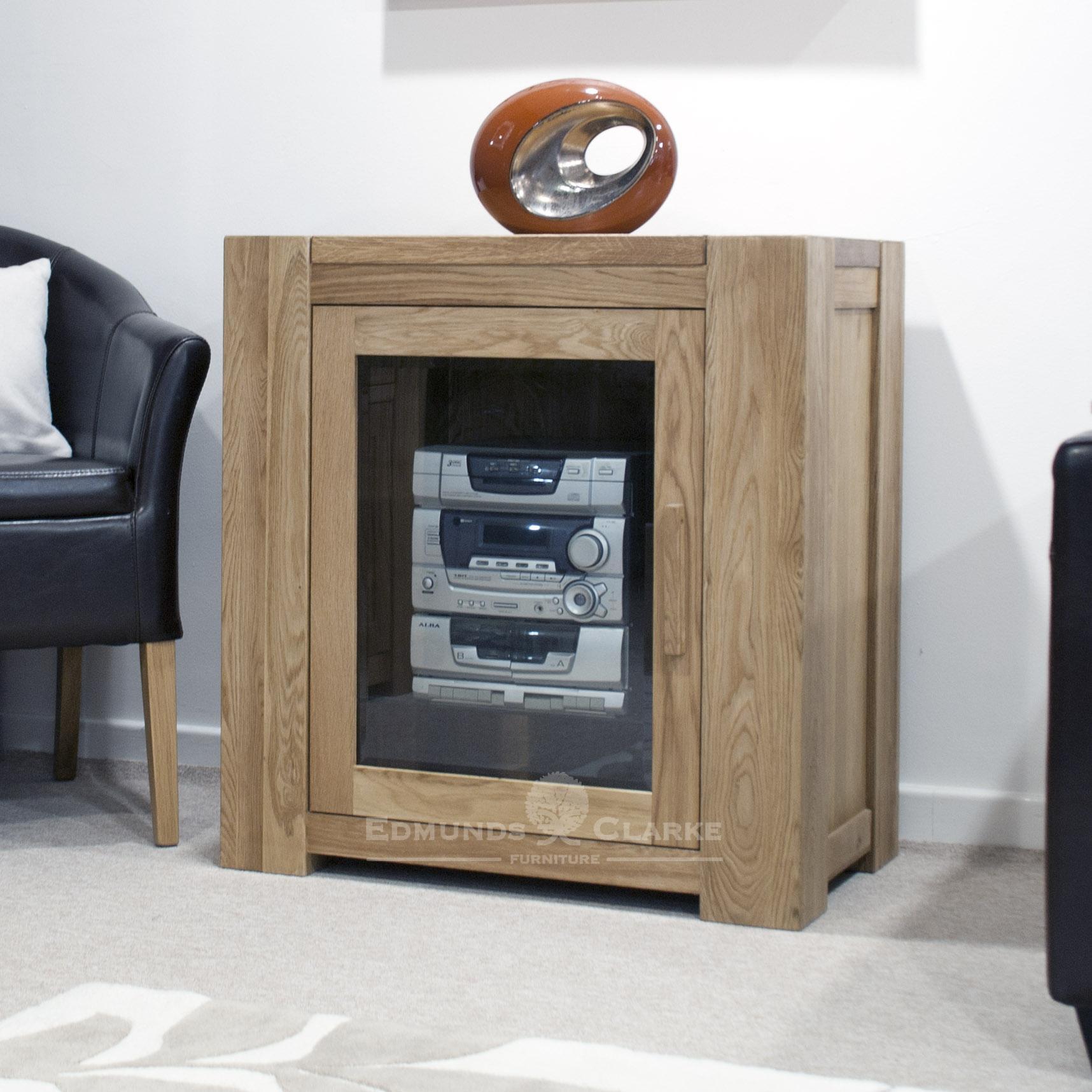 Newmarket solid oak chunky style hifi glazed cabinet