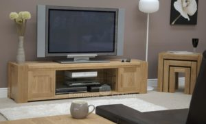 Newmarket long wide plasma tv stand solid oak