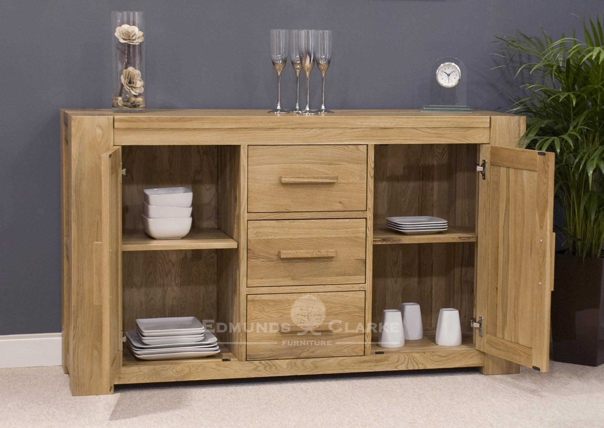 Large square edge 2 door 3 drawer sideboard square edge design
