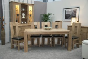 Large 8 seater solid oak square leg dining table