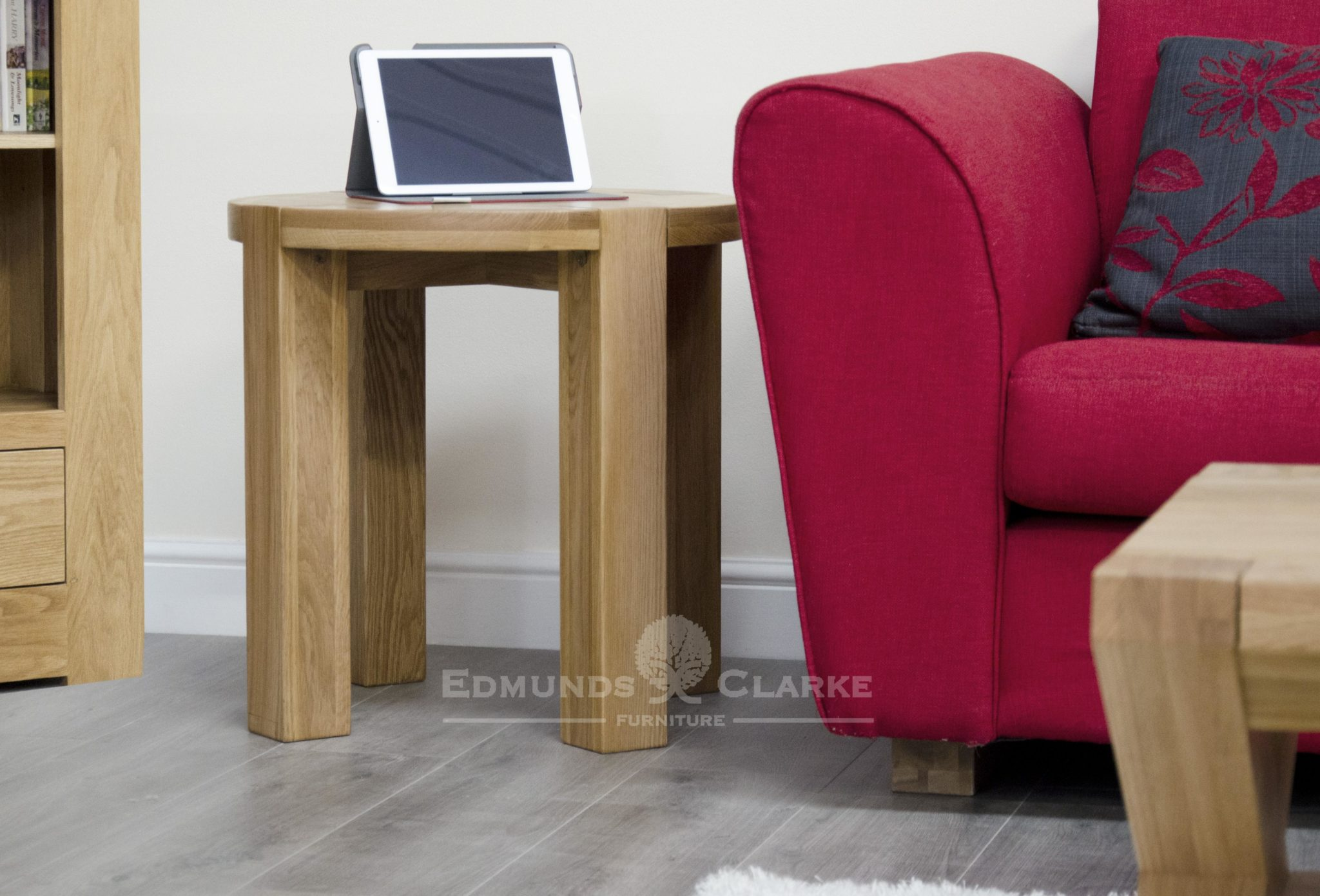 Round solid oak lamp table with four square edge legs chunky style
