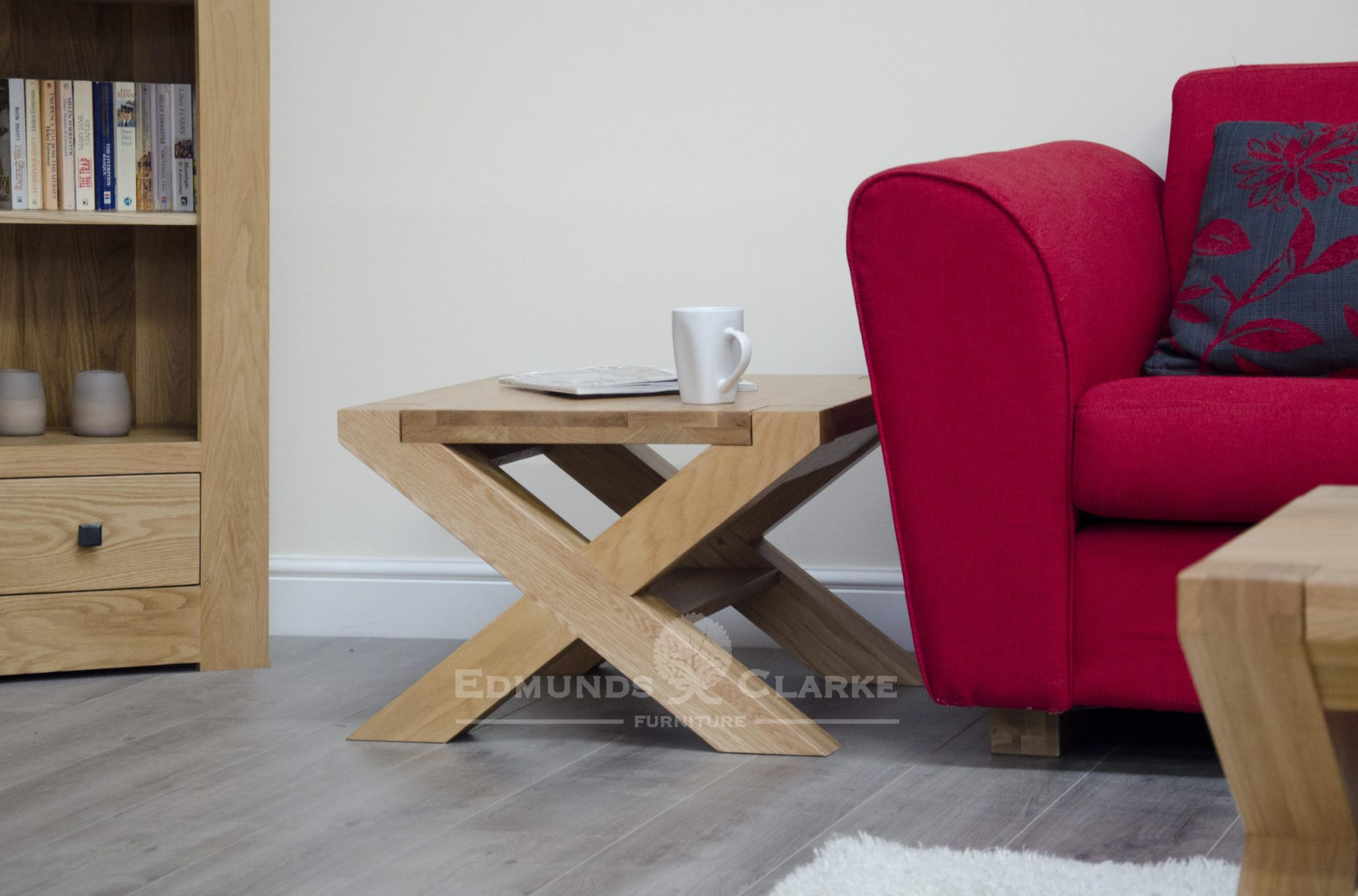Newmarket cross leg designer coffee table with shelf