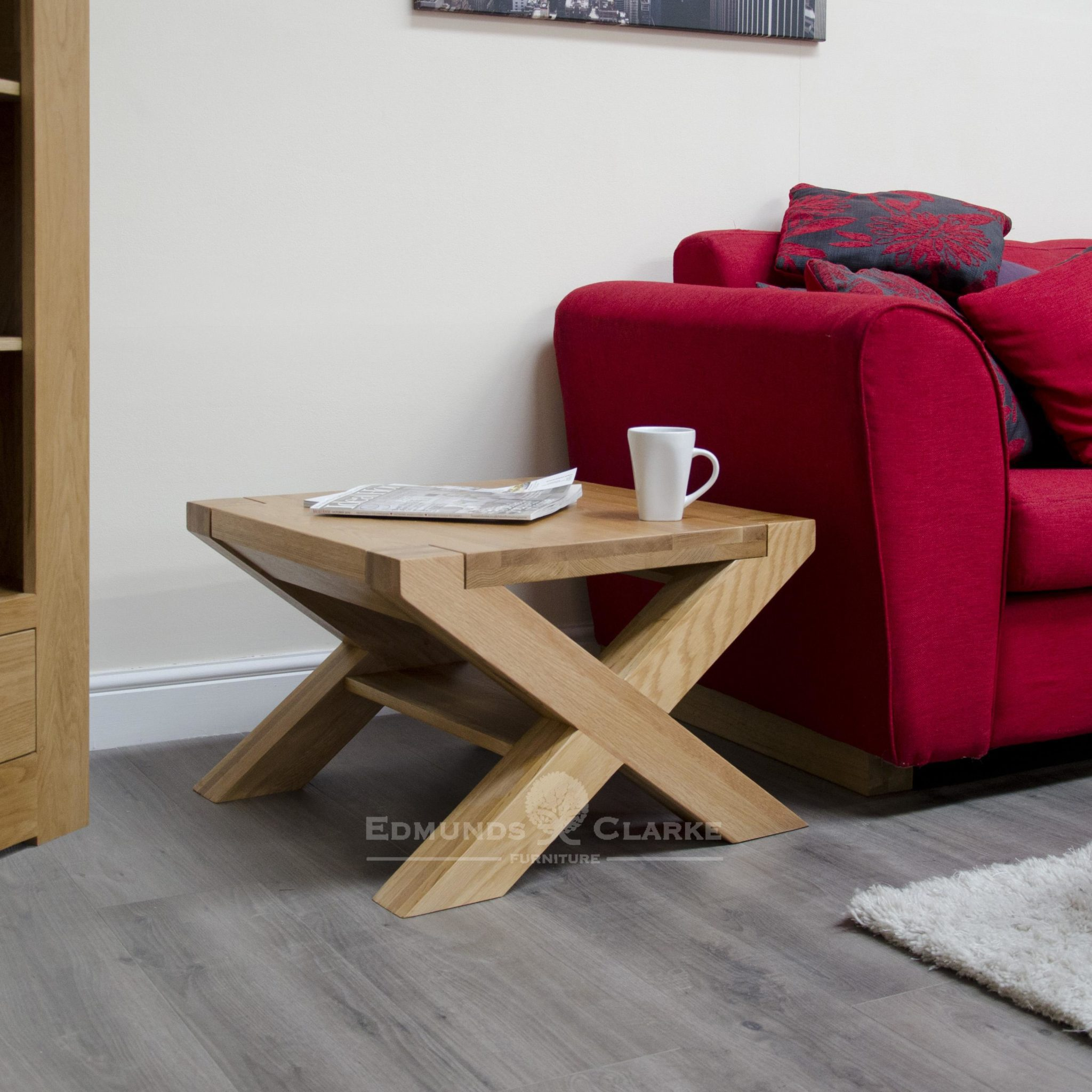 Stylish designer z cross leg coffee table 2' x 2'