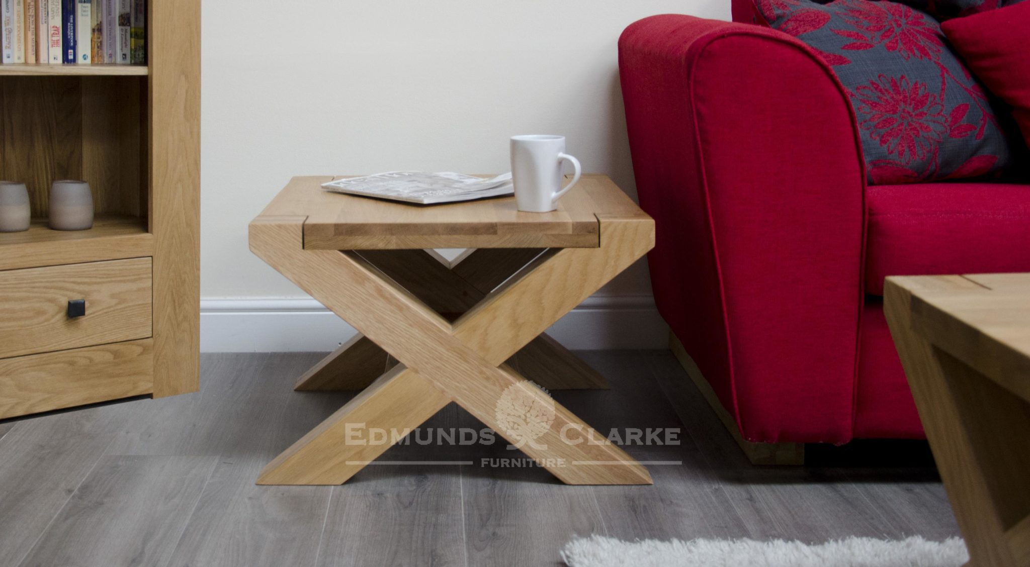 Newmarket small 2' x 2' cross leg coffee table small shelf below