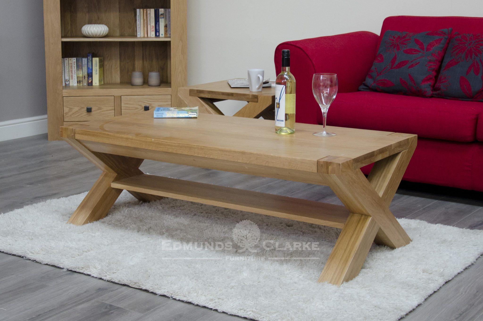 Cross leg coffee table 4' x 2' with small shelf below