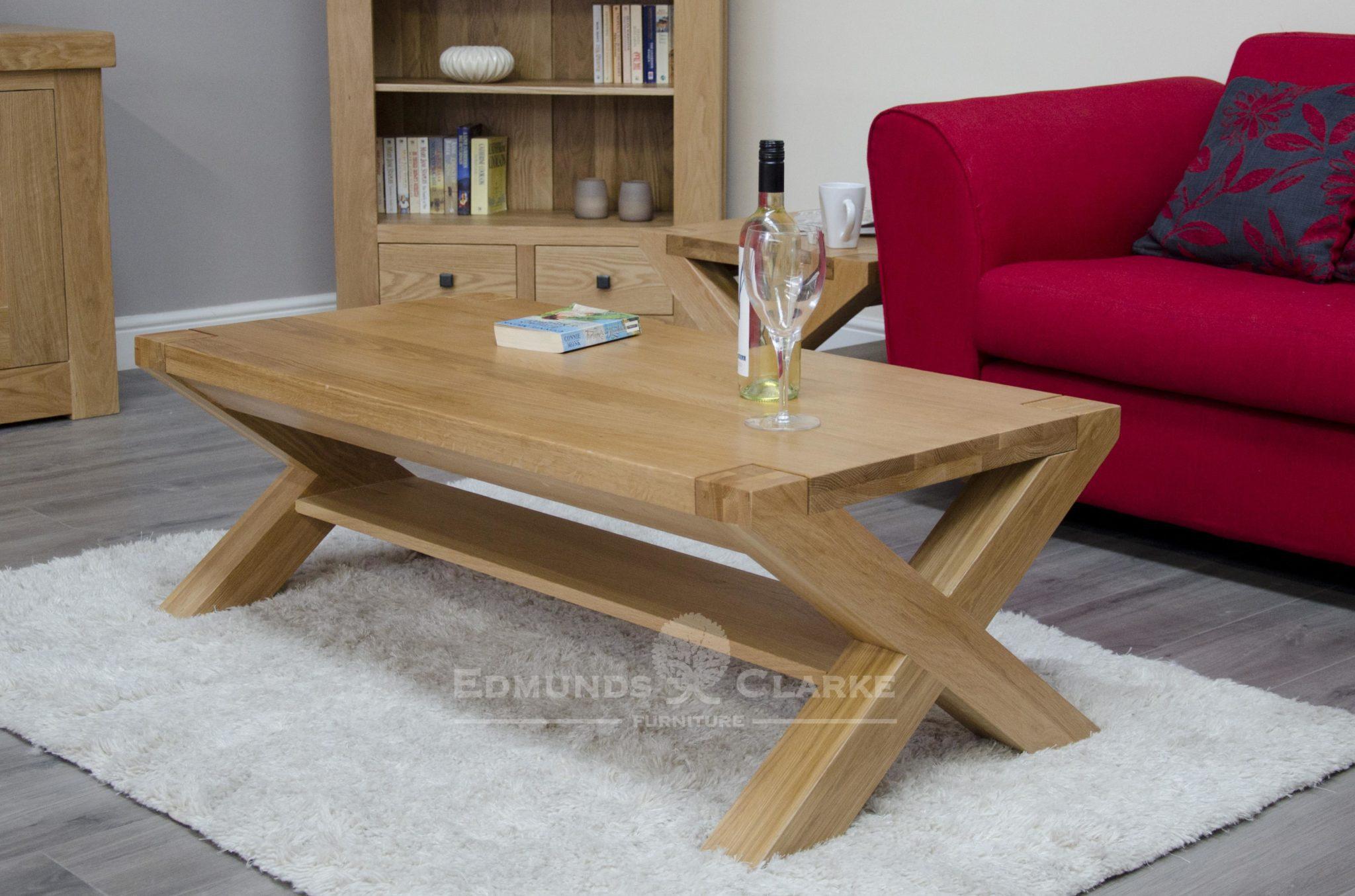 Newmarket solid oak 4' x 2' coffee table cross leg design