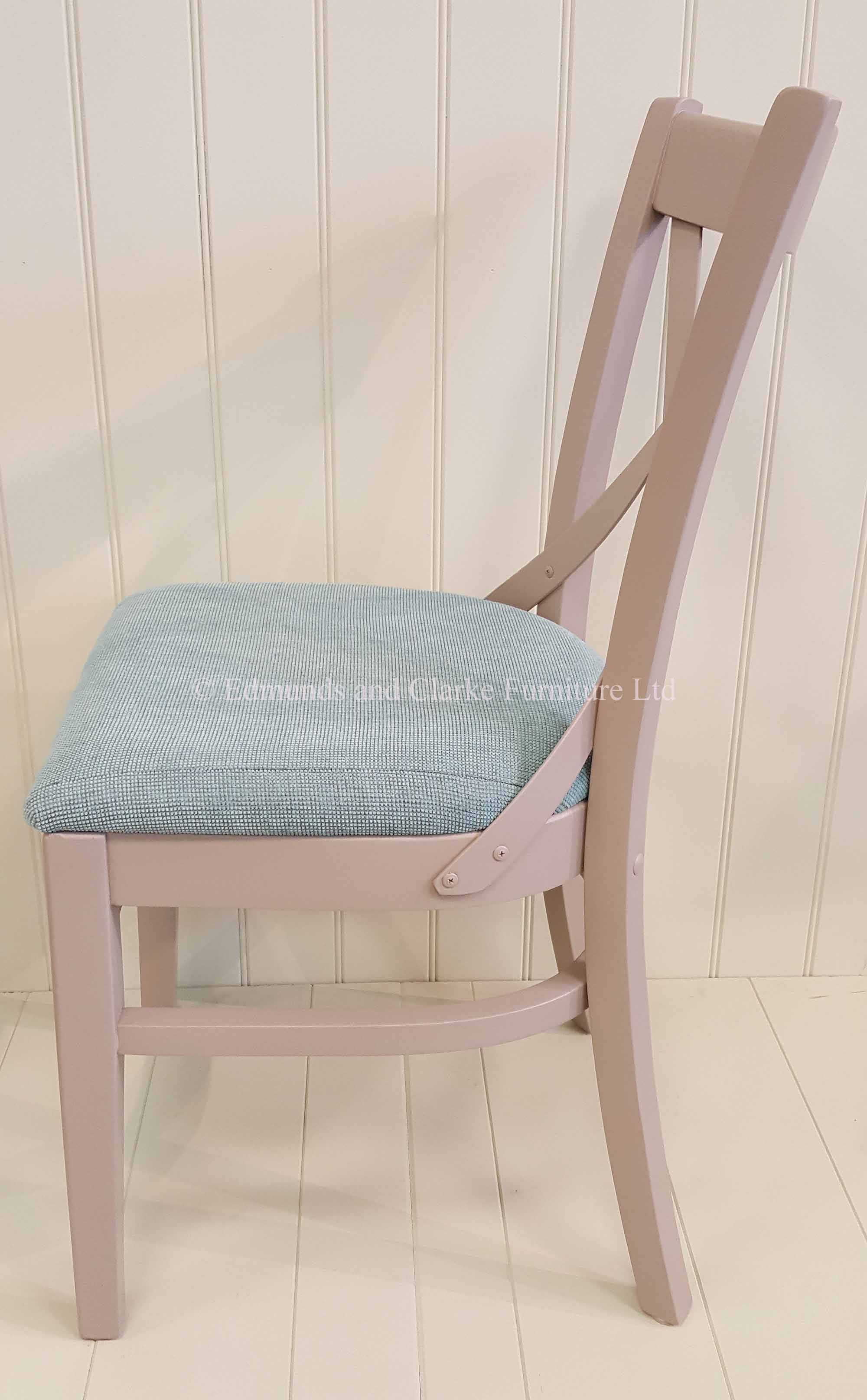 Oxford dining chair painted with fabric seat pads x back