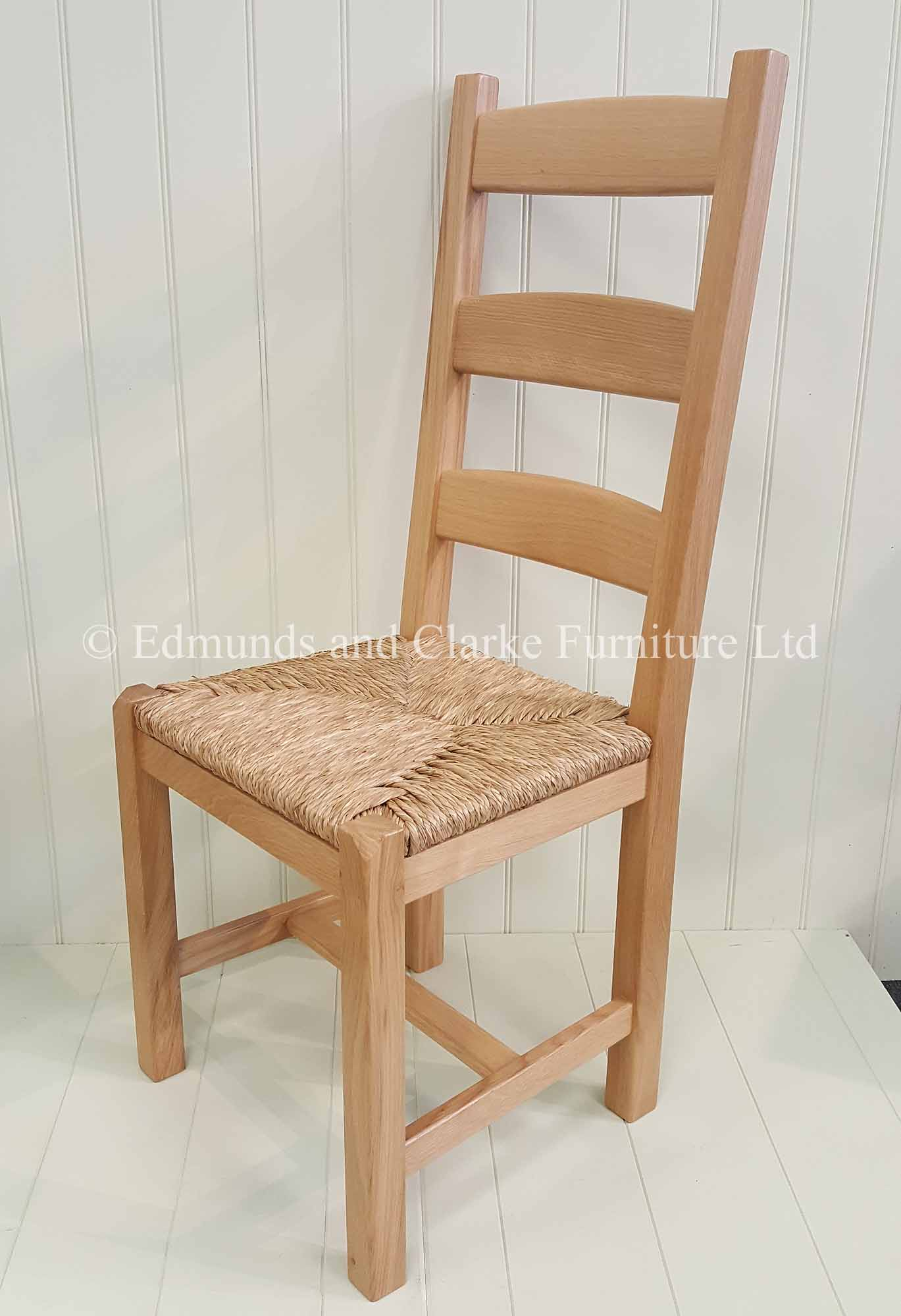Solid oak dining chair with rush seats