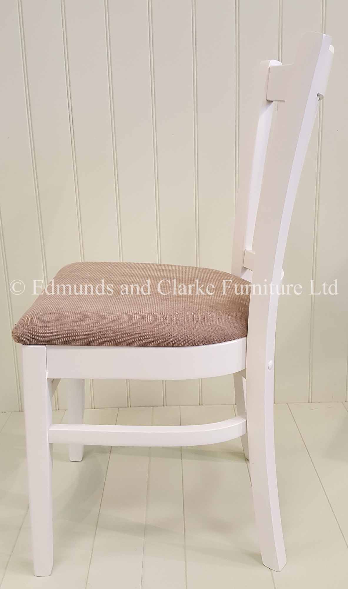 White painted dining chair with choice of seat pads
