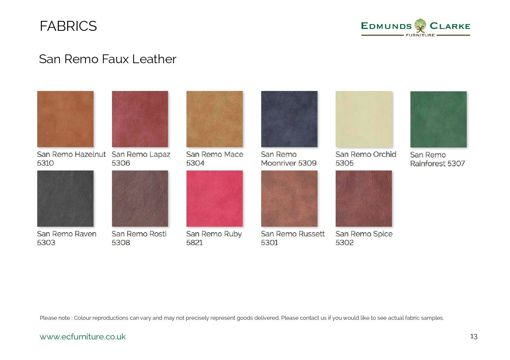 San remo faux leather swatches for our Edmunds chairs