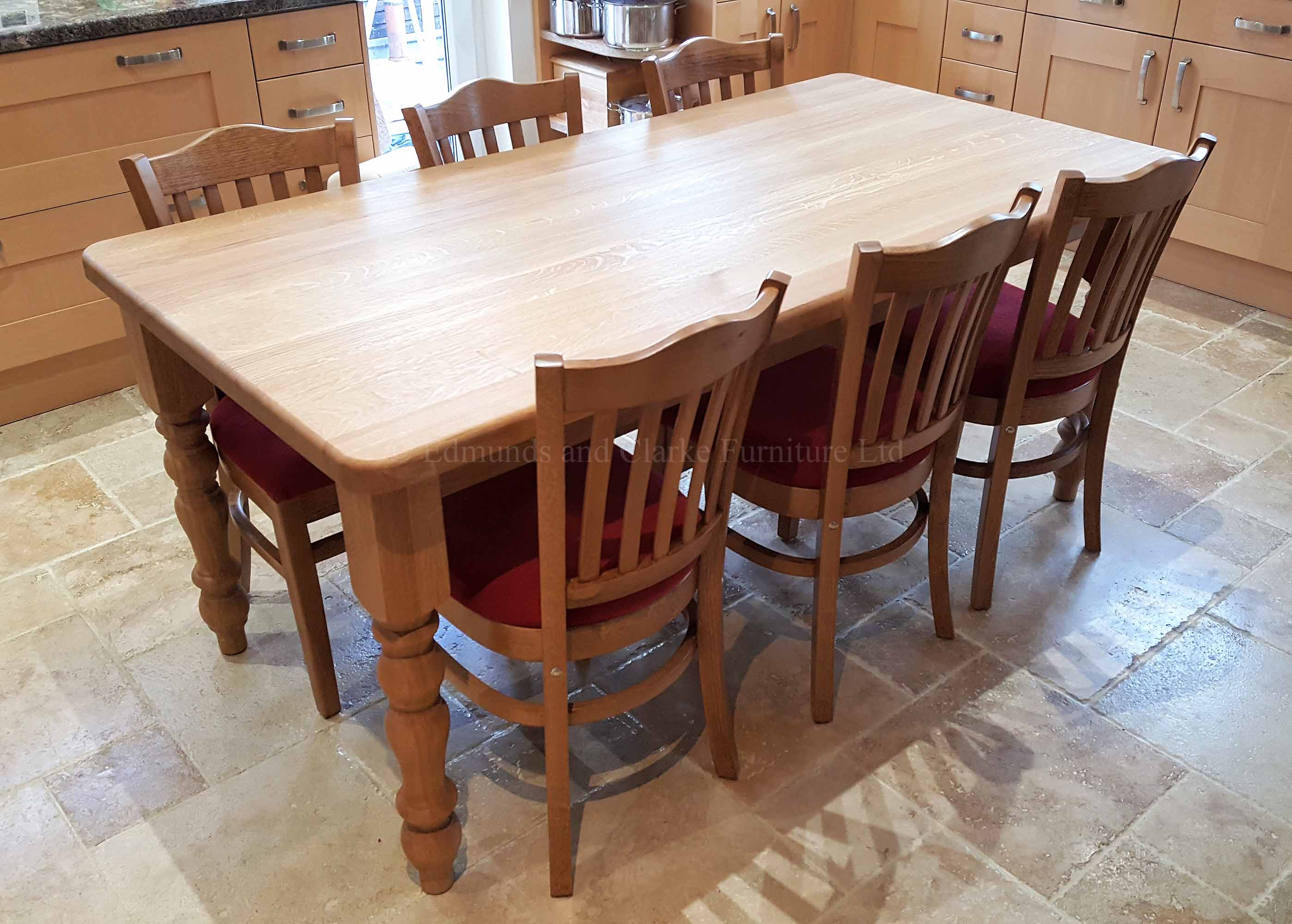 Edmunds Oak Farmhouse Table. Turned legs and oiled oak all over. many chairs to go with this table