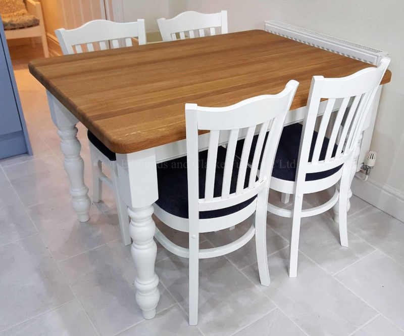 Edmunds painted farmhouse table oak top, image shows 4 x 3 oak top but available in pine too with many finishes to choose from. turned legs,