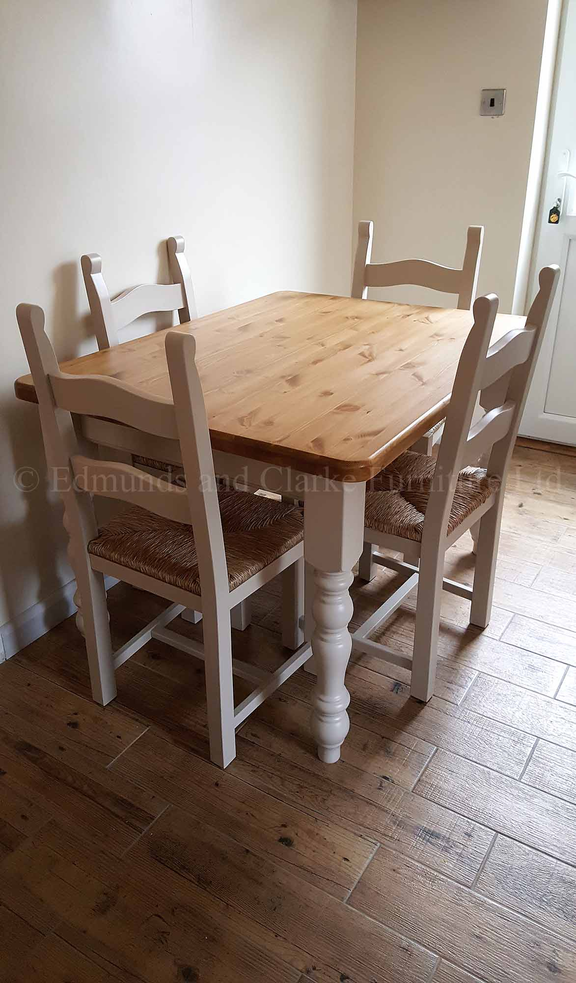 Farmhouse dining table painted with pine waxed top and bretton chairs
