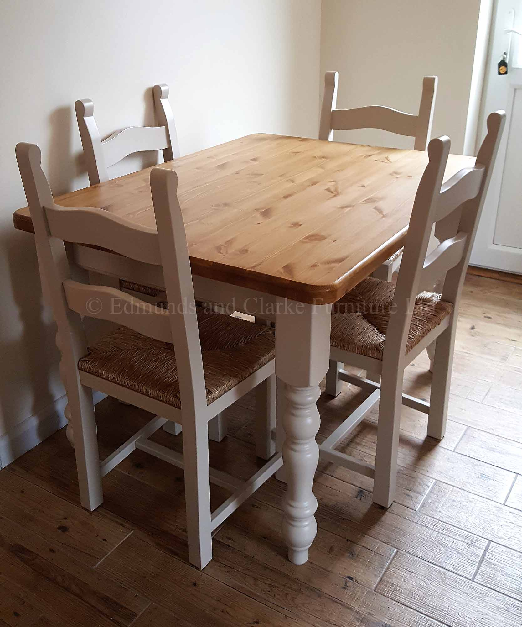 Edmunds Painted Farmhouse Table pine top, image shows 4 x 3 pine top with painted legs, 10 colours available