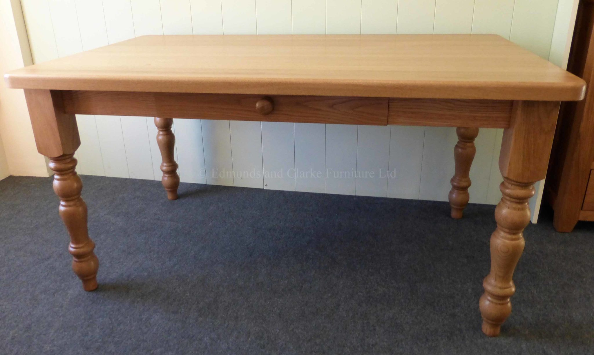 Edmunds solid oak farmhouse table with drawer in side