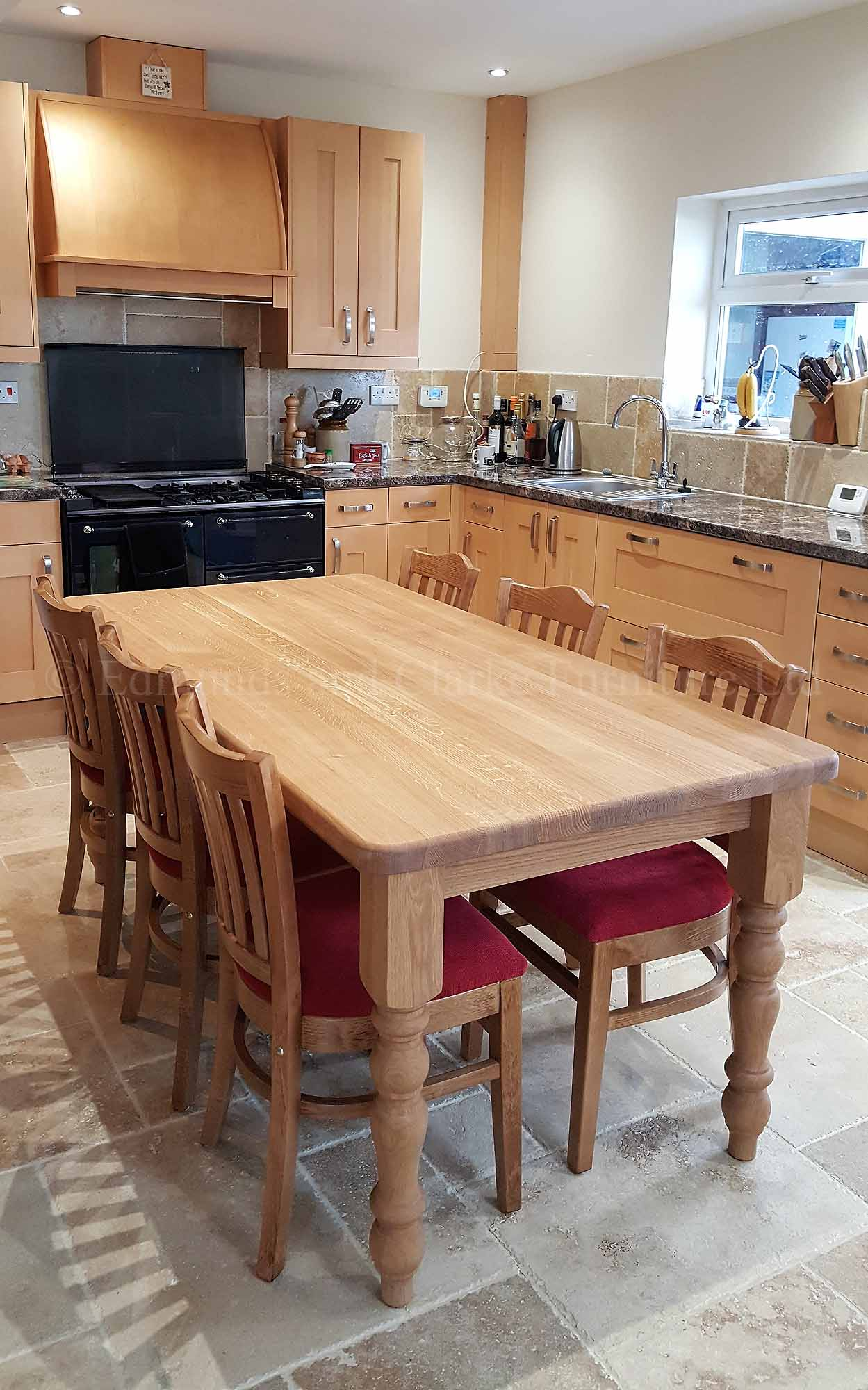 Solid oak 6' x 3' farmhouse table oiled with stamford chairs