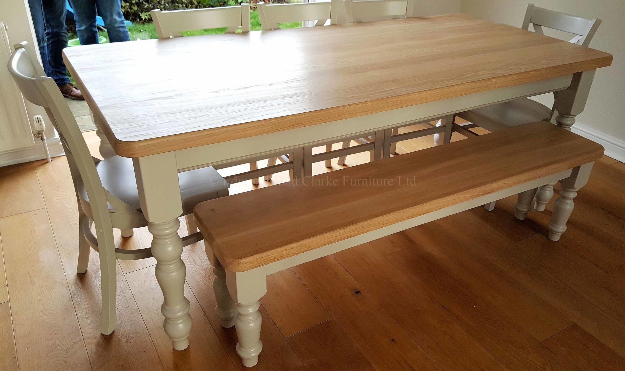 Edmunds farmhouse table with crossback chairs and bench