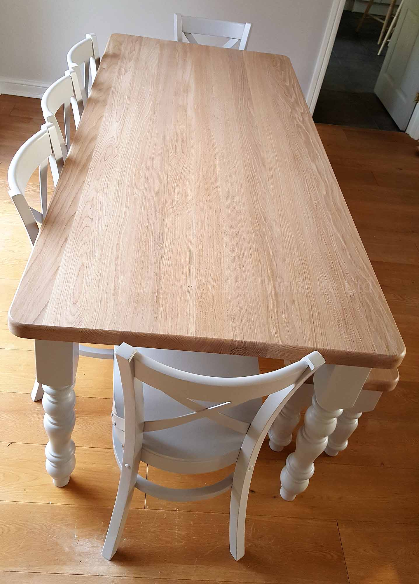 Edmunds farmhouse style 6' x 3' table with crossback chairs and bench