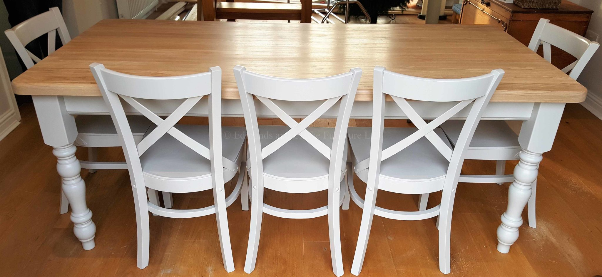 Farmhouse 6' x 3' table with oxford chairs