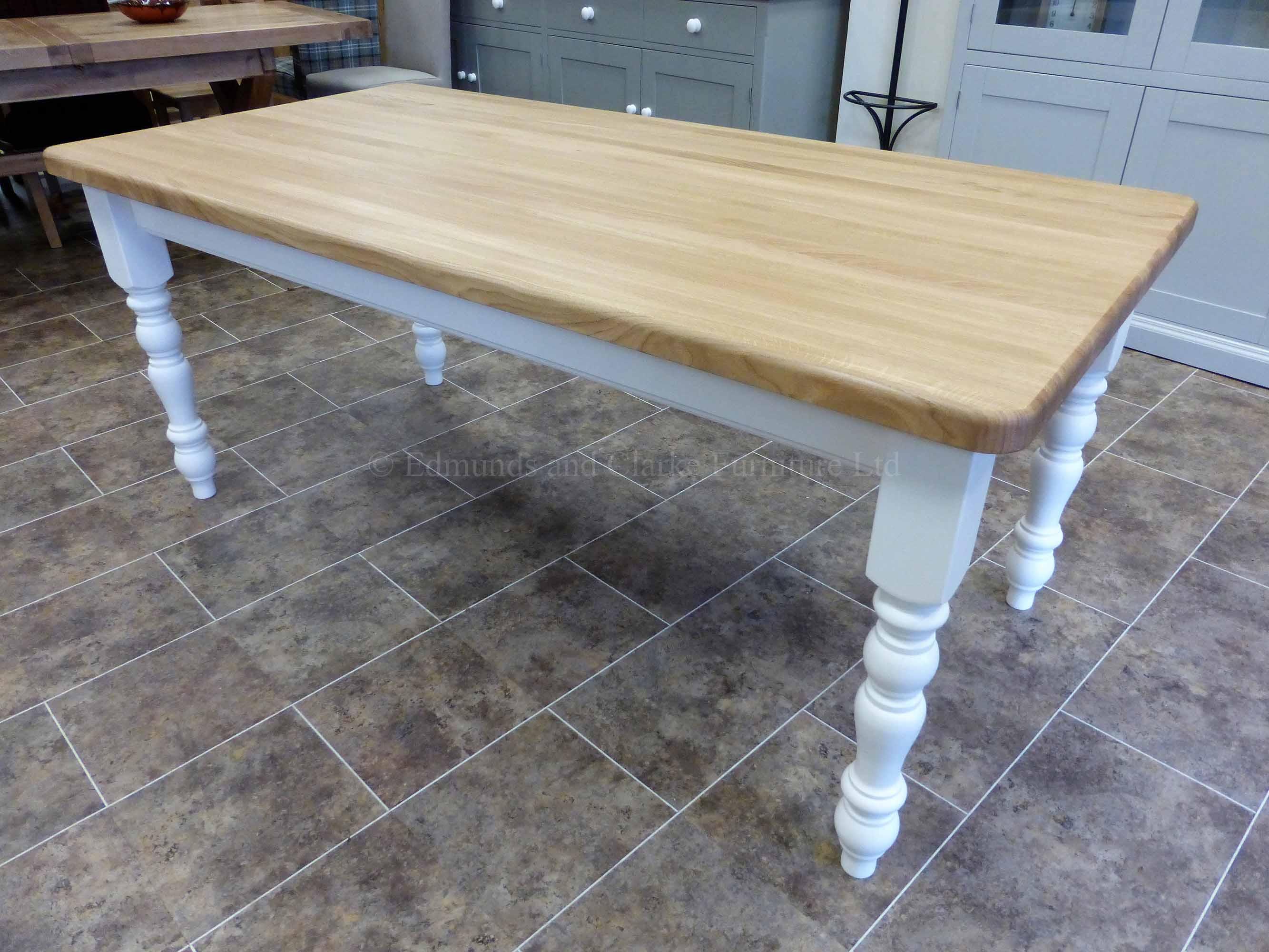 6' x 3' Farmhouse style table turned legs oak top