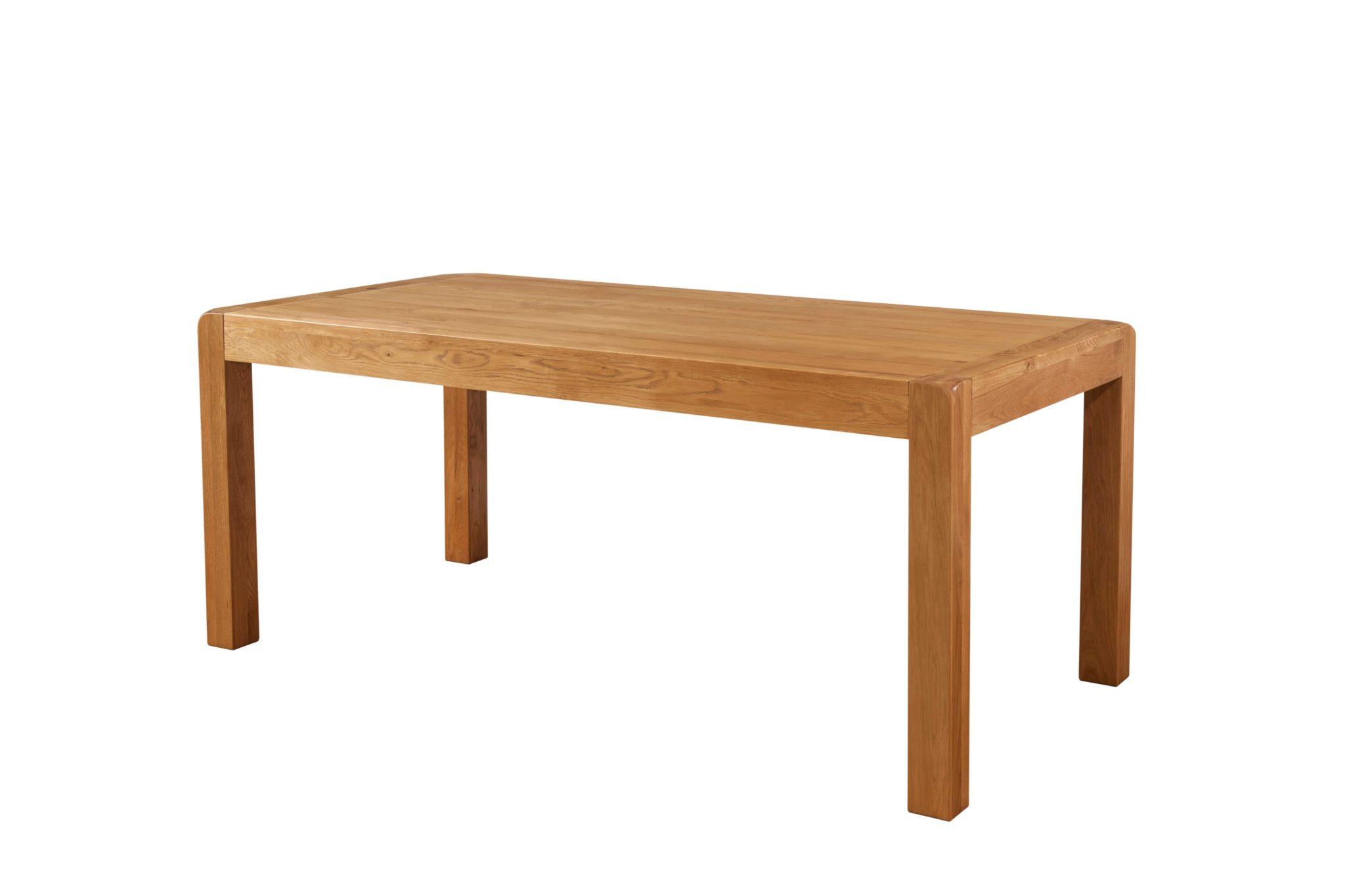 DAV024 Avon Oak. 180cm Dining Table. medium waxed oak finish with rounded edges. non extending