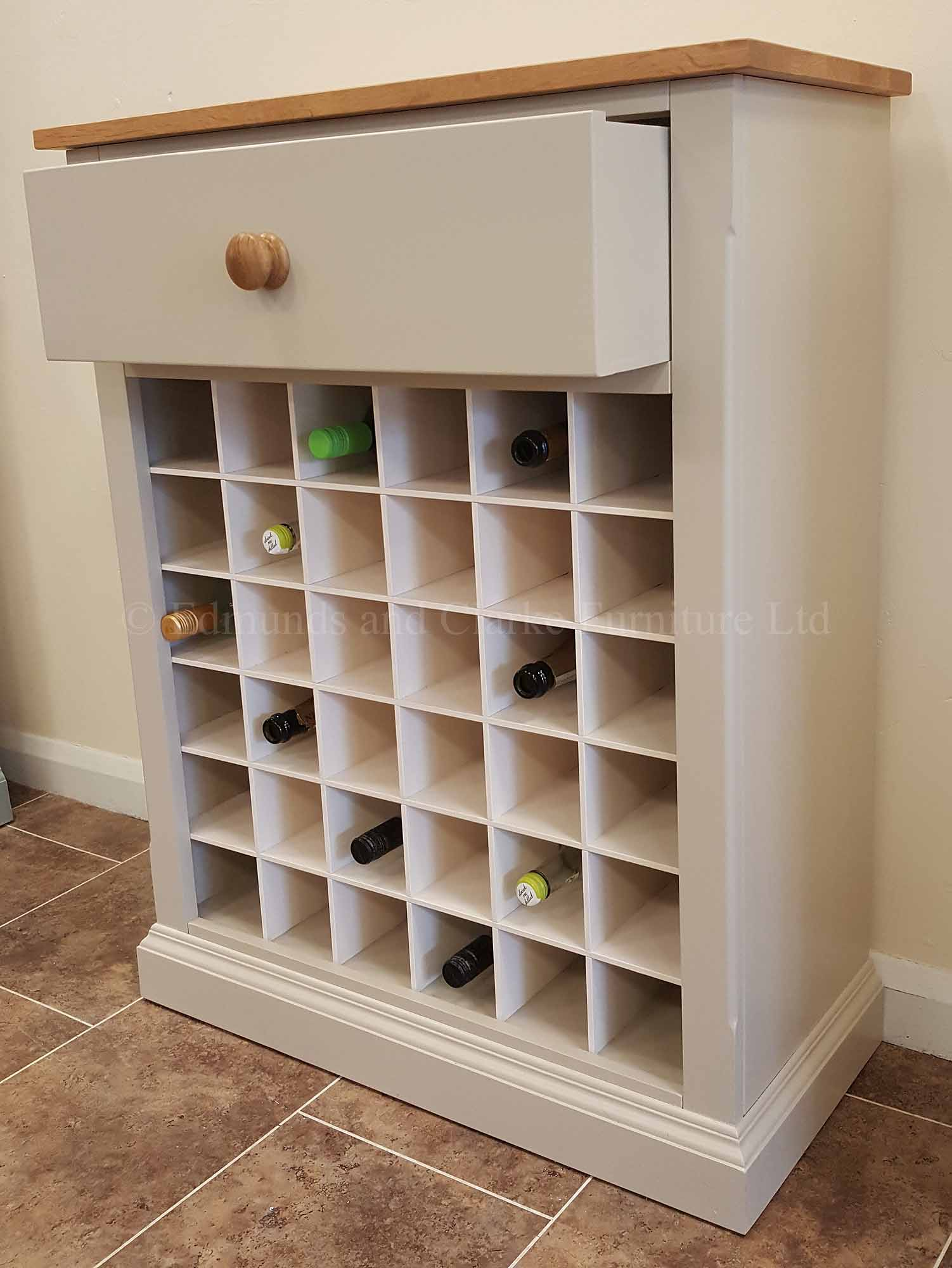 Painted wine rack hold 36 wine bottles, choice of colours and tops