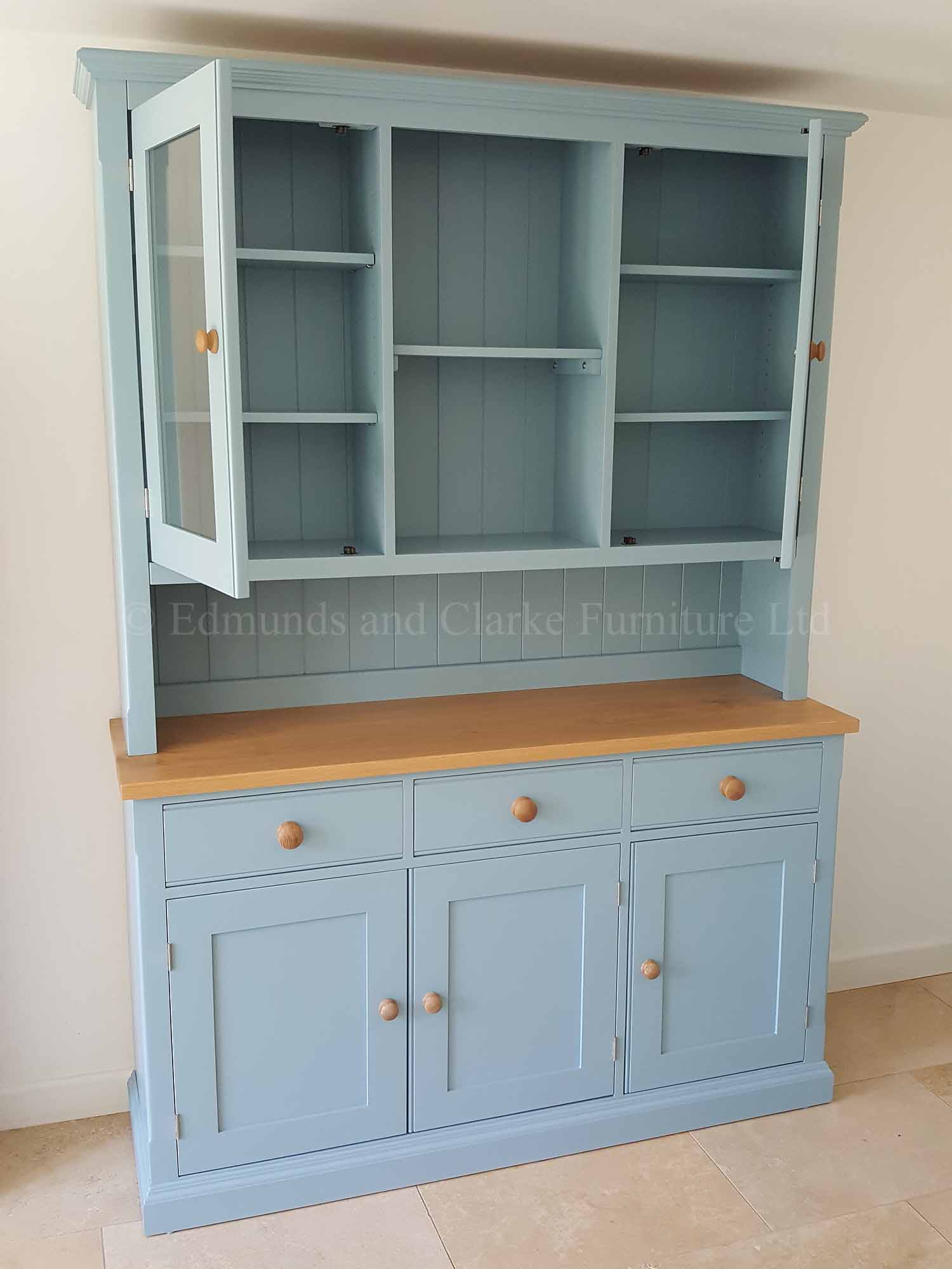 Painted kitchen dresser with oak top, choice of colours available