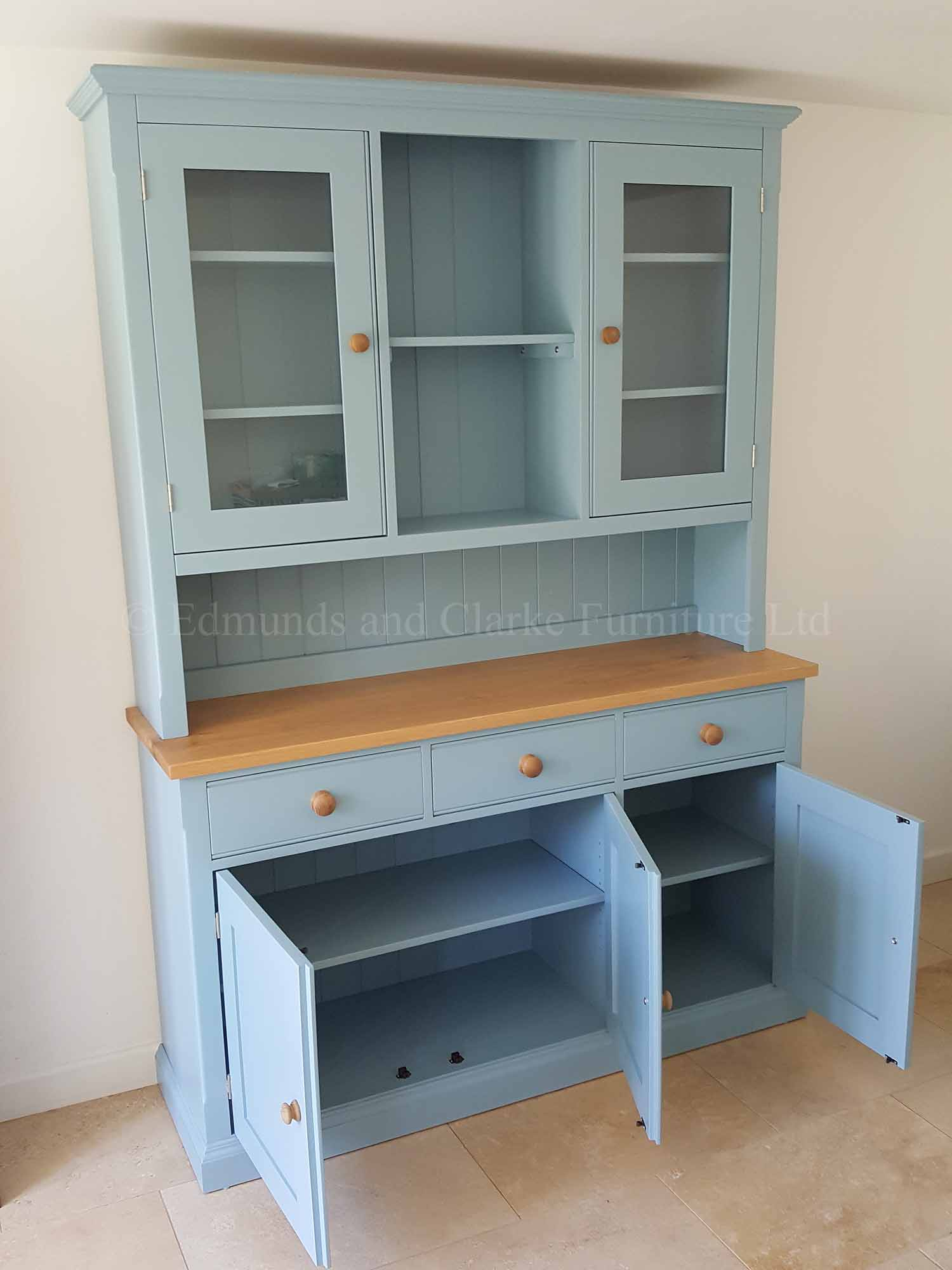 5ft painted glazed dresser with glazed rack and three door three drawer sideboard