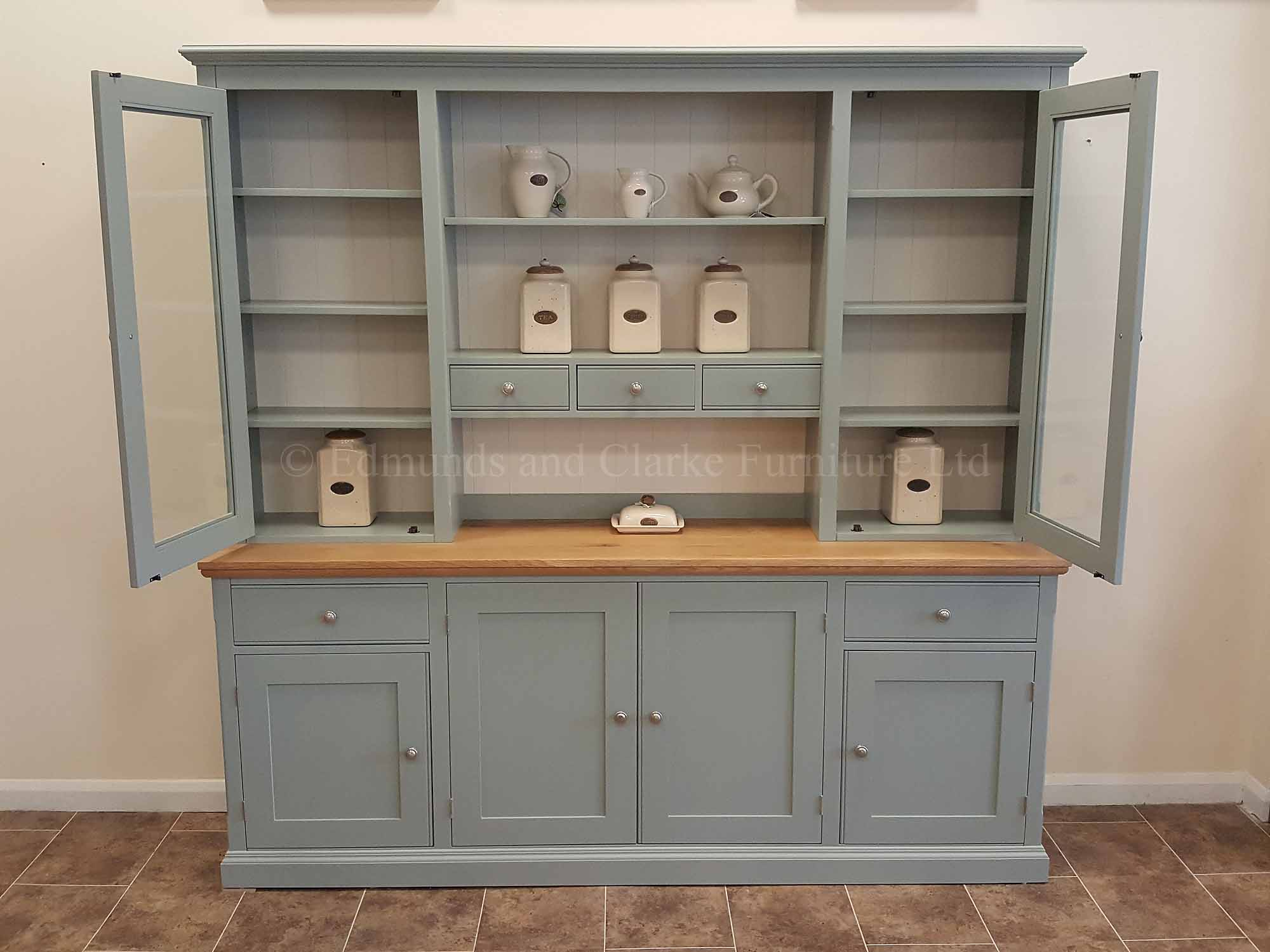 Painted wide seven foot kitchen dresser, with doors and drawers