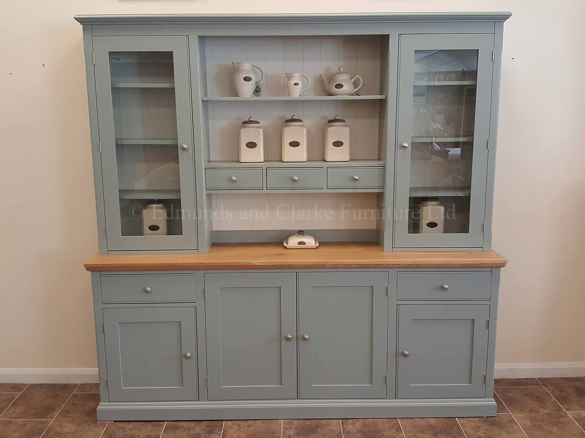 7ft kitchen dresser painted with solid oak top