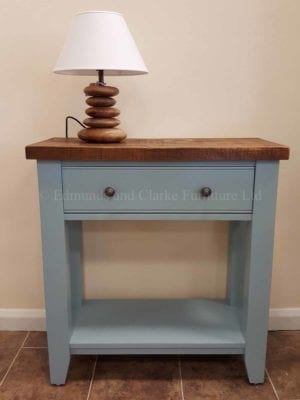Edmunds Painted Console Table. rough sawn pine top stained dark for rustic look. tapered feet