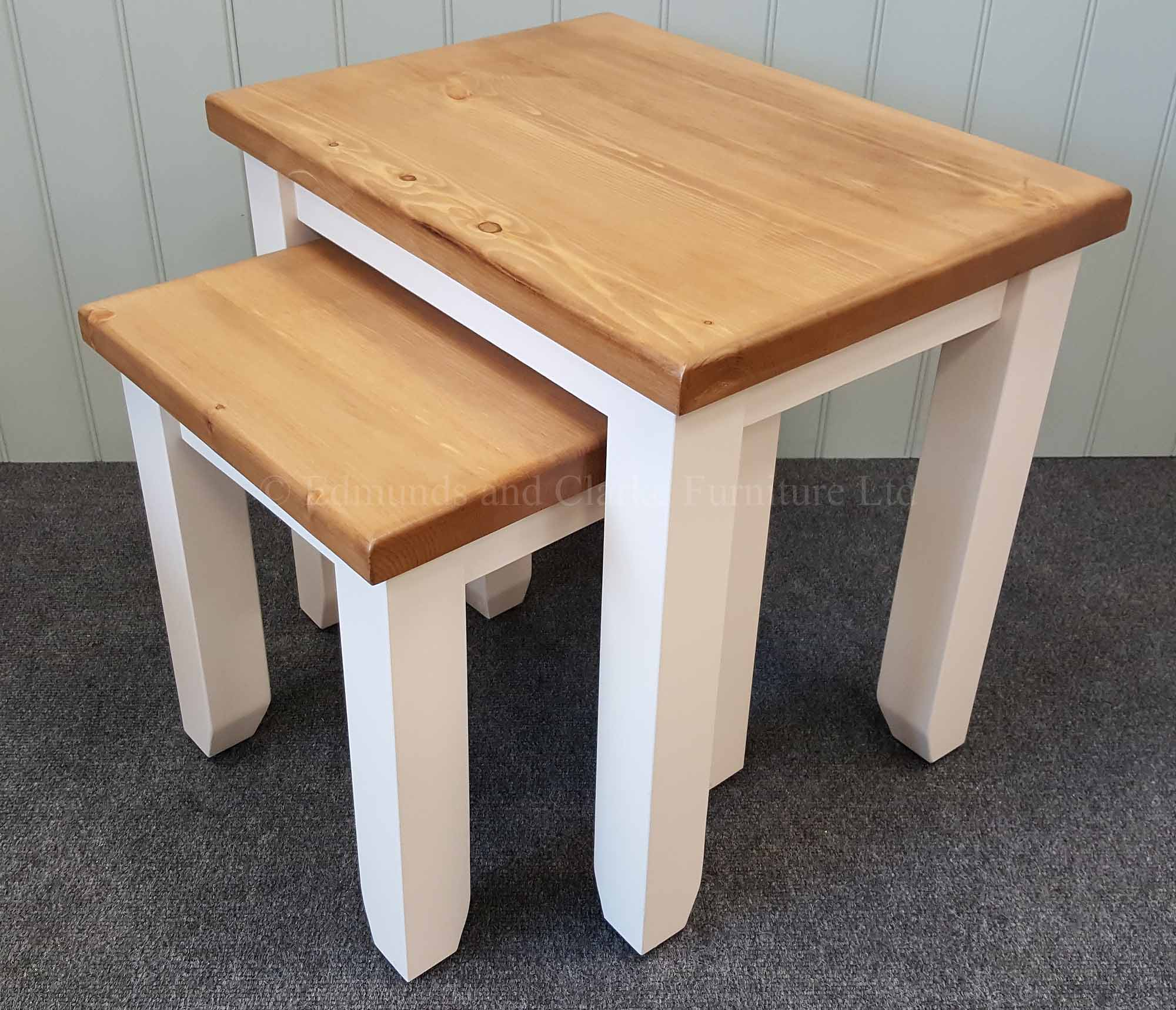 Nest of two shaker style square leg tables