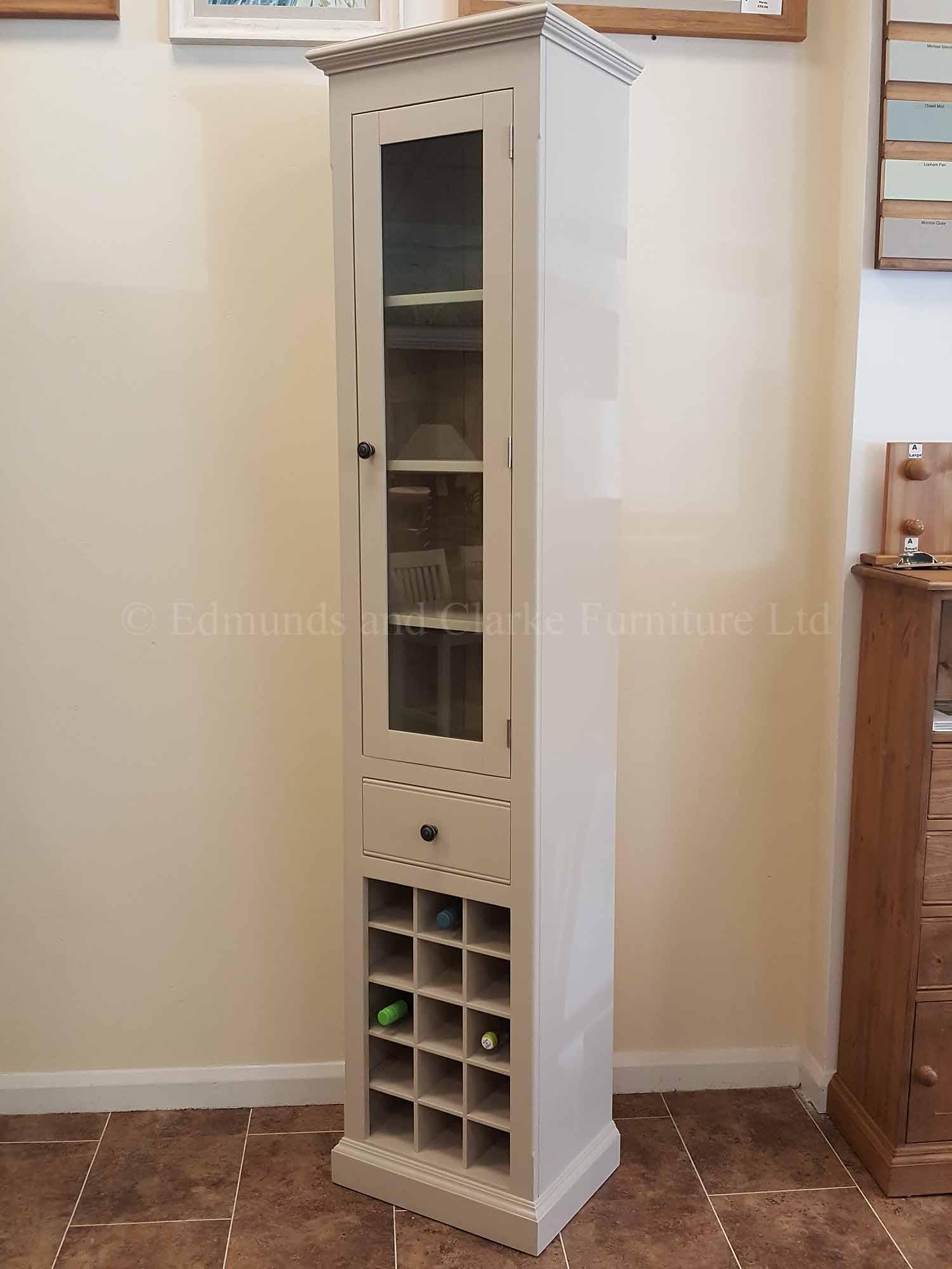 Tall narrow glazed kitchen cupboard with wine rack
