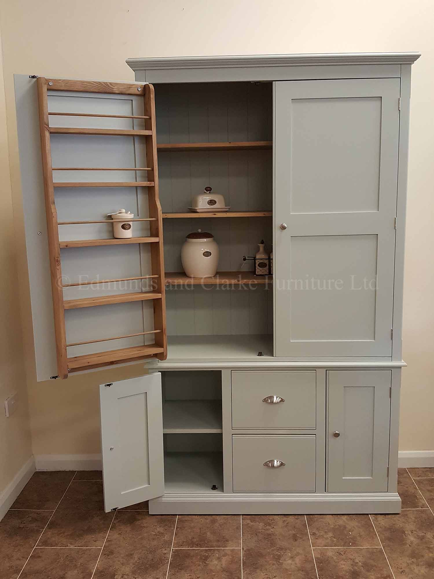 Wide kitchen larder cupboard painted in a choice of colours