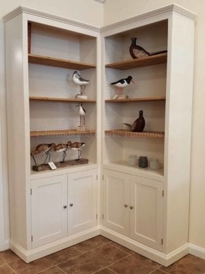 Edmunds painted corner bookcases with cupboard. 10 colours to choose from . pine or painted shelves .