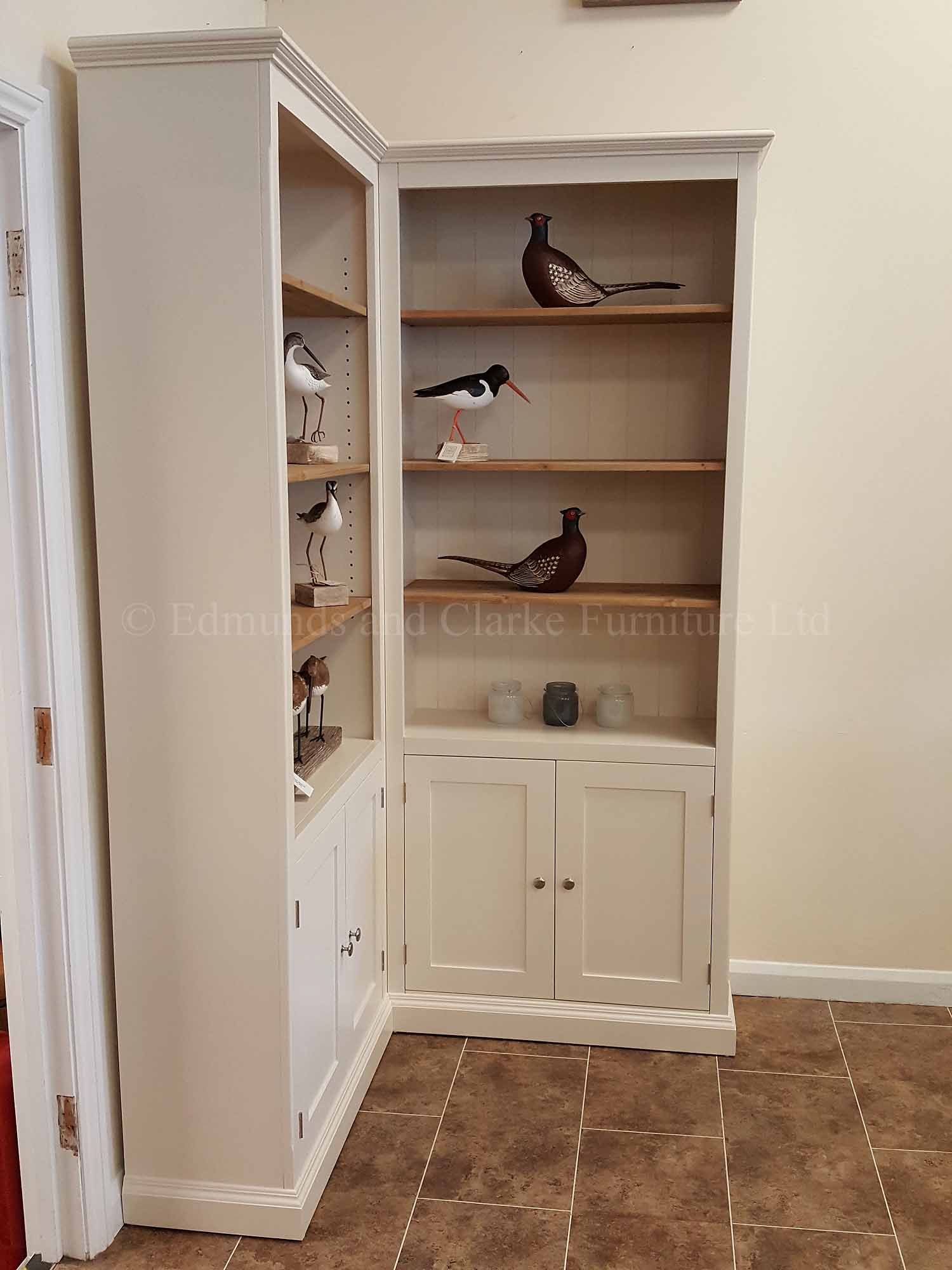 Edmunds four door corner bookcase, made to fit a 4 feet x 4 feet corner