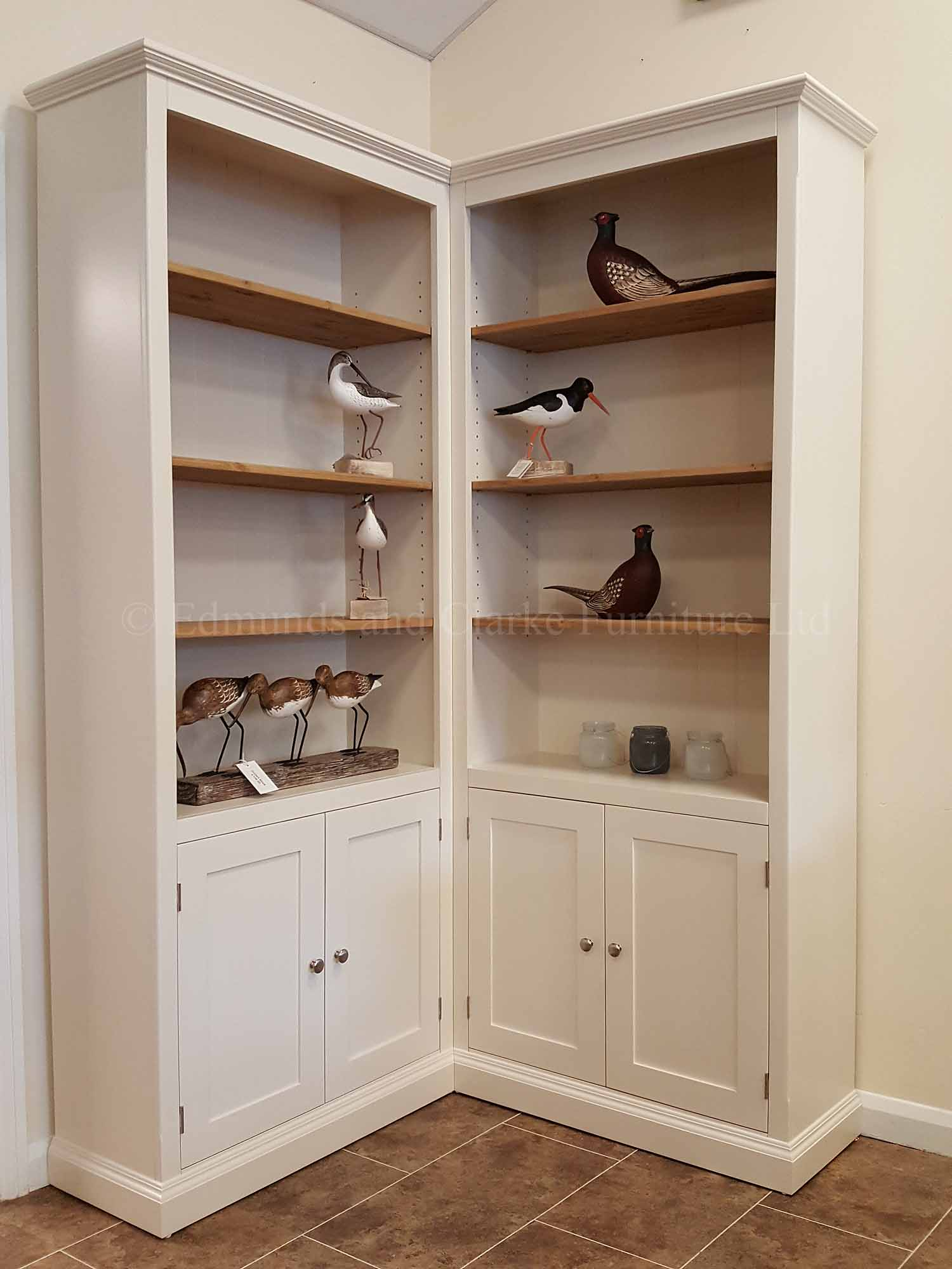 Edmunds painted white half door corner bookcase