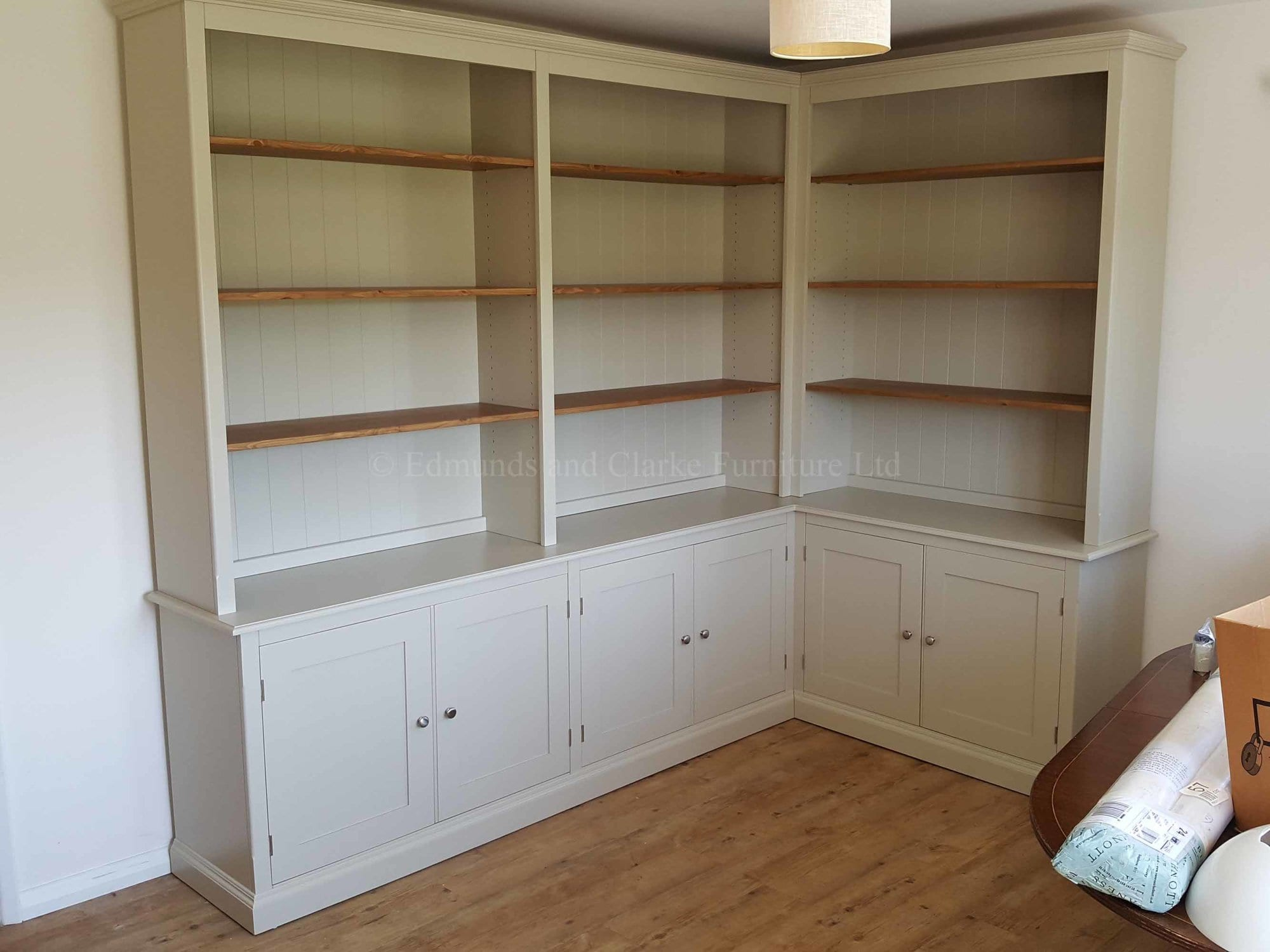 Made to measure corner bookcase painted